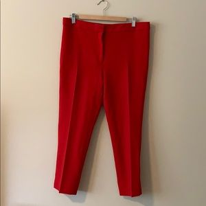 Red cropped pants by Ann Taylor